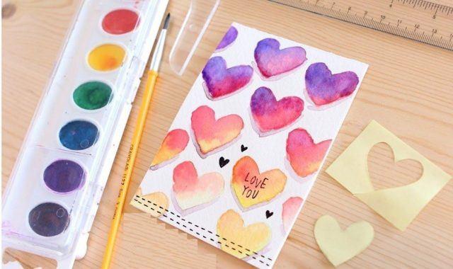 tarjetas-san-valentin-con-temperas-de-colores