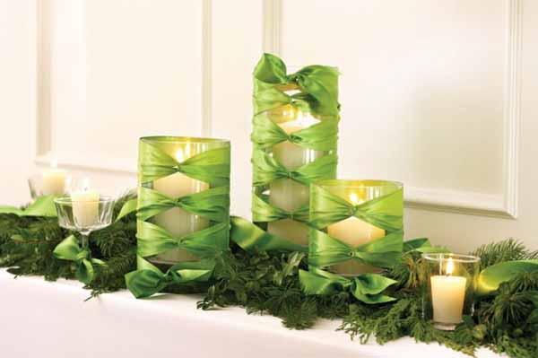 velas-de-navidad-lazos-verdes