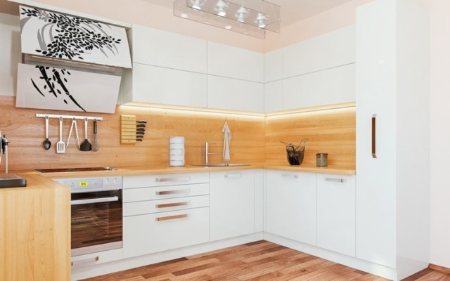Kitchens-modern-white-with-living-colors