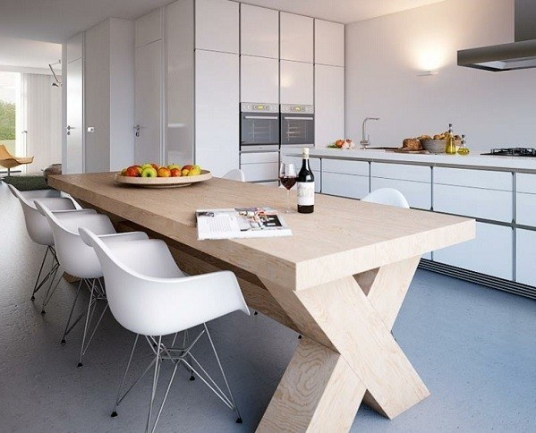 Kitchens-modern-white-different-materials