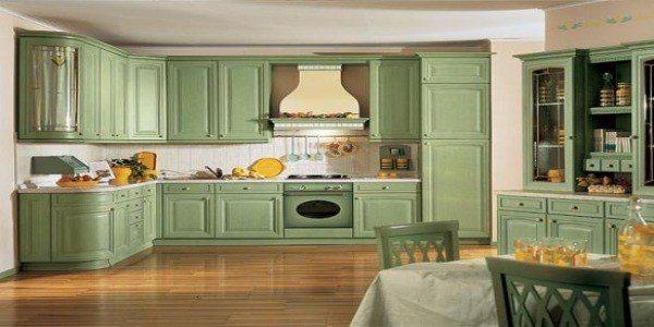 cocinas rusticas modernas con muebles color verde