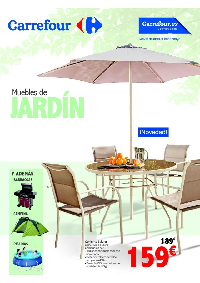 Cat logo carrefour muebles de jard n mayo 2017 for Ofertas en mesas y sillas