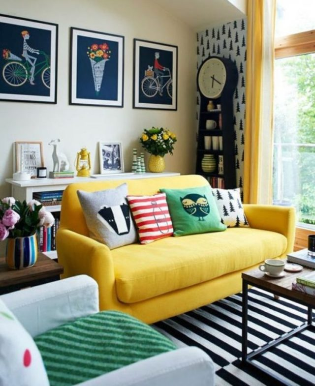 Fotos-salones-pequenos-con-sofa-amarillo