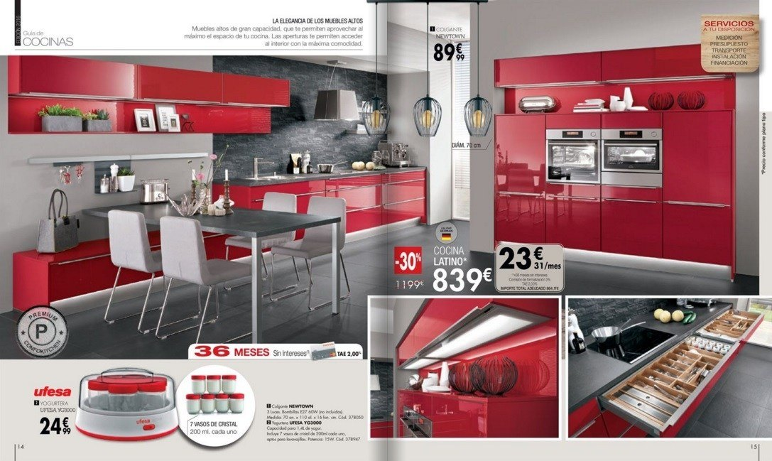 Catalogo conforama cocinas colores roja for Catalogo cocinas pequenas
