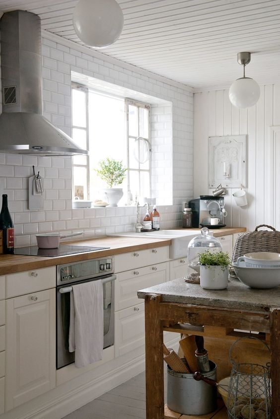 cocinas de madera blanca - Cocinas Clasicas Blancas