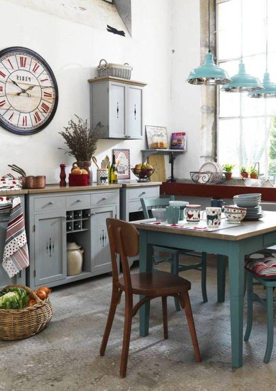 M s de 30 ideas para decorar una cocina al estilo vintage - Mesa cocina vintage ...