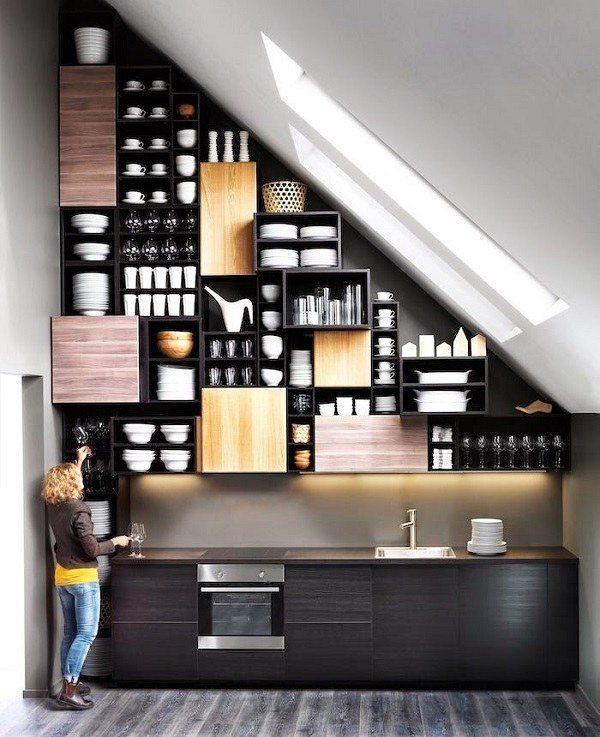 cocinas pequenas de diseno estanteria