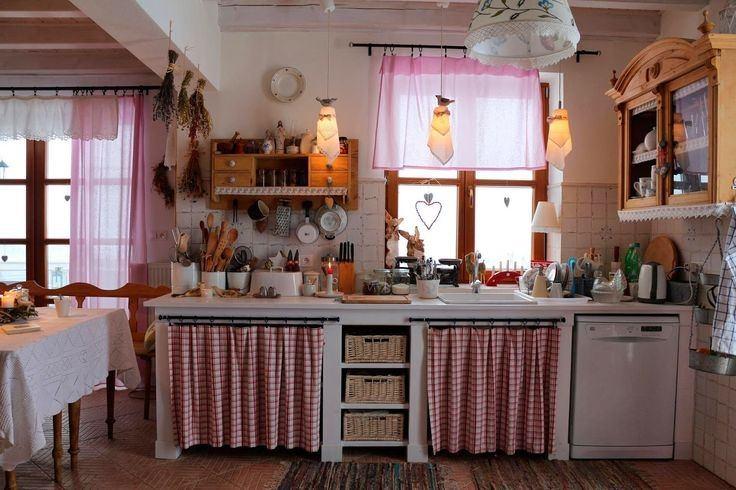 Con cortinas Cocinas antiguas