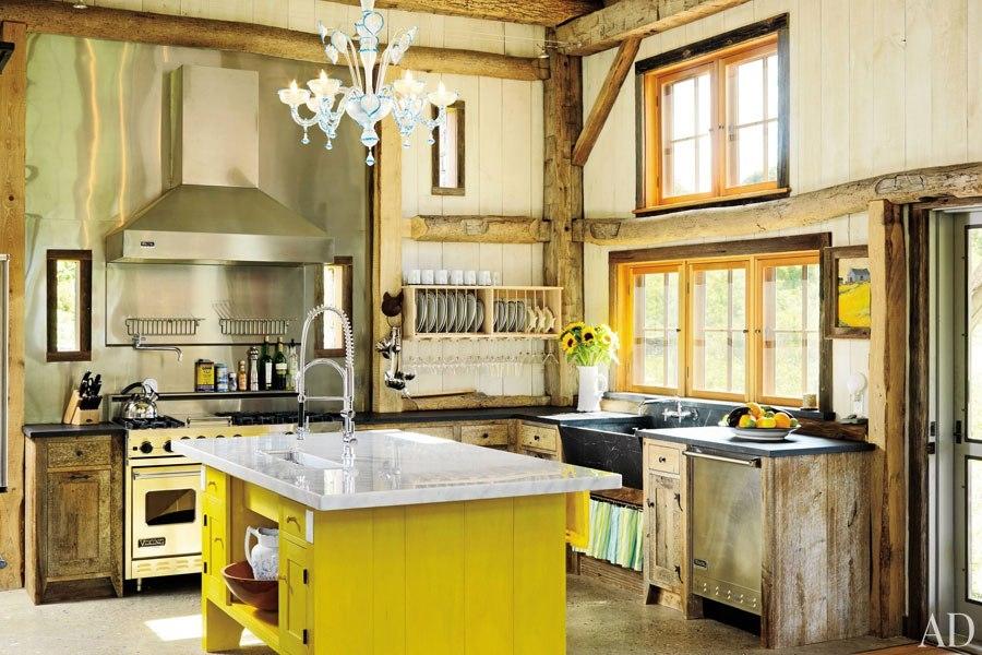 Fotos cocinas decoradas con encanto cocina rustica mesa amarilla - Mesa de cocina rustica ...