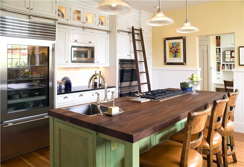 fotos-cocinas-decoradas-con-encanto-cocina-verde-marron-madera ...