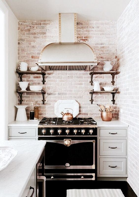 cocina de obra vista con estilo vintage