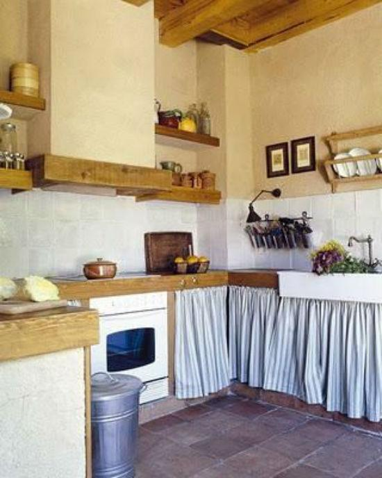 De 100 fotos con ideas de cocinas de obra que te van a for Decorar muebles con tela