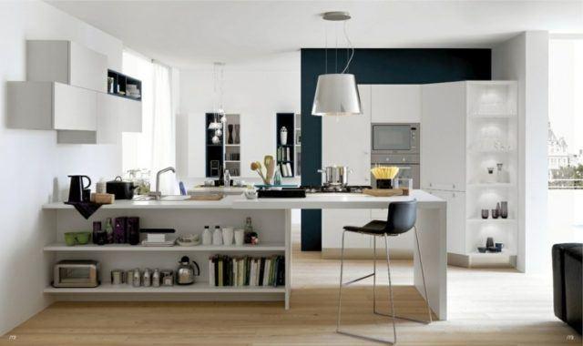 M s de 100 fotos de cocinas con isla central - Isla de cocina con mesa ...