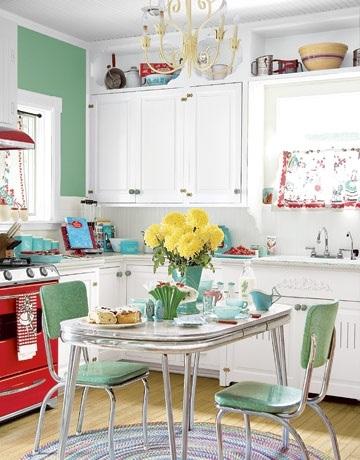 ideas-decorar-una-cocina-estilo-vintage-mesa-y-sillas