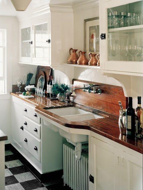 ideas-para-decorar-una-cocina-estilo-vintage-encimera-madera
