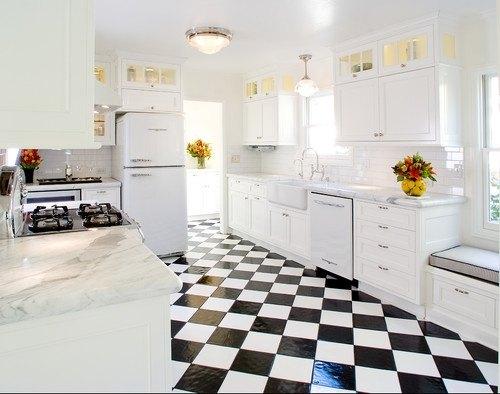 ideas-para-decorar-una-cocina-estilo-vintage-suelo-ajedrez