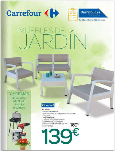 Cat logo carrefour muebles de jard n mayo 2017 for Mobiliario jardin carrefour