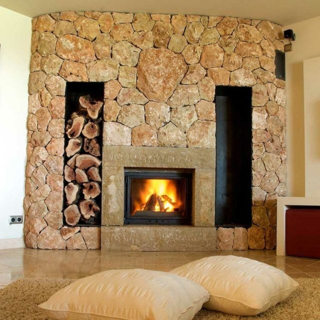 100 fotos con ideas de chimeneas r sticas - Chimeneas interiores ...