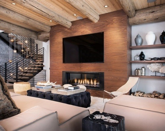 chimenea-rustica-diseño-moderno-con-techo-de-madera