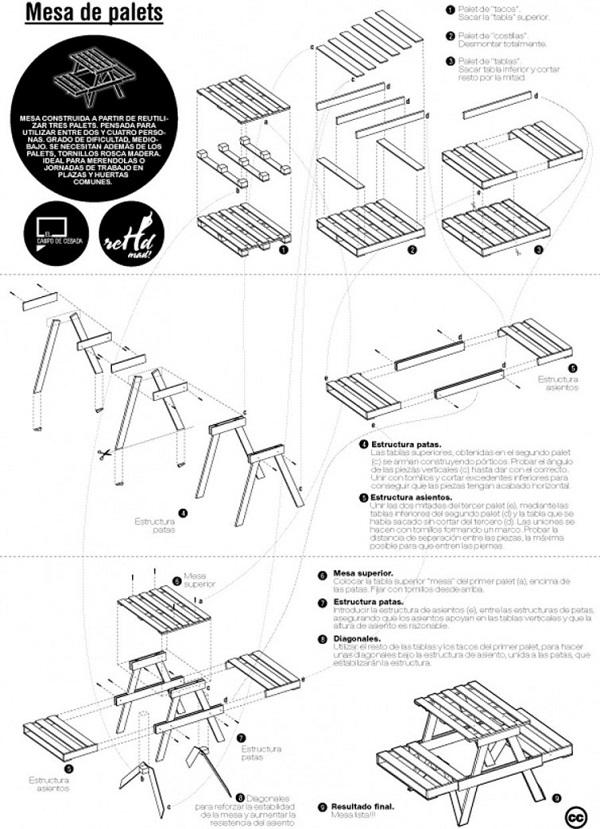 M s de 100 ideas de muebles hechos con palets reciclados for Construccion de muebles de madera pdf