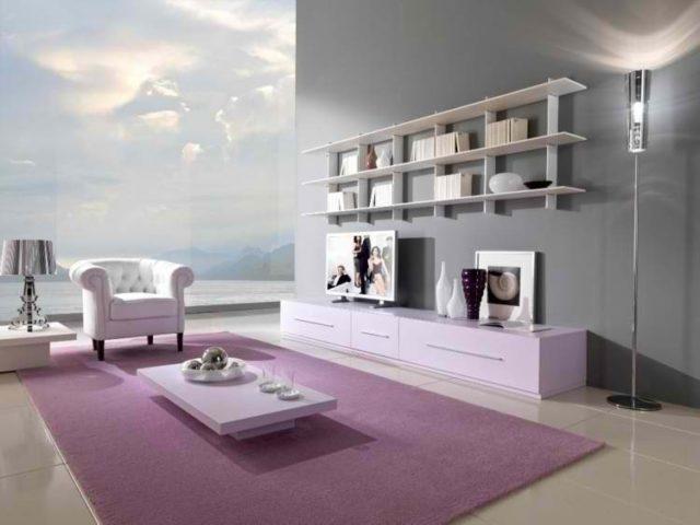 decoracion-de-salones-modernos-alfombra-morada