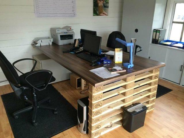 M s de 100 ideas de muebles hechos con palets reciclados for Escritorios para oficina dimensiones