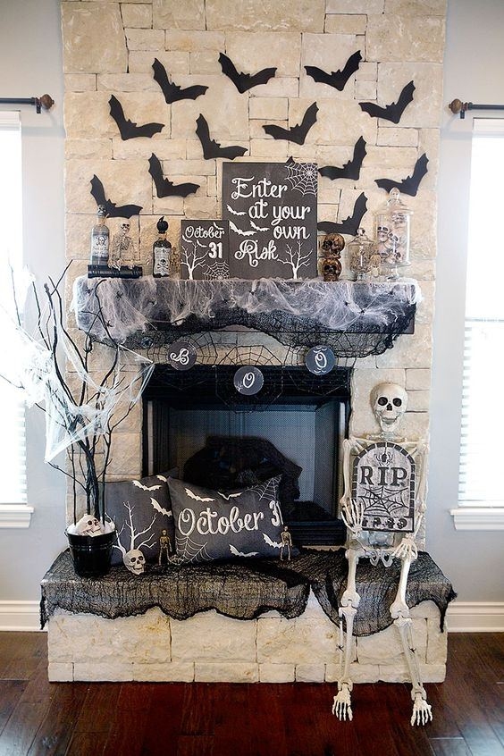 Home-decoration-halloween-fireplace