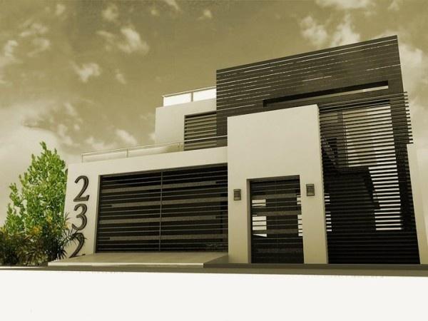 M s de 200 fotos de fachadas de casas modernas y bonitas for Casas minimalistas modernas con cochera subterranea