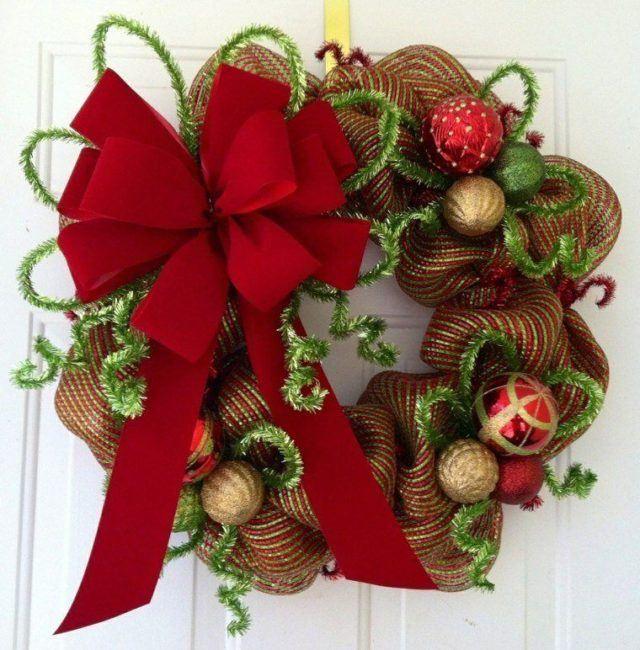 coronas-de-navidad-lazo-de-color-rojo