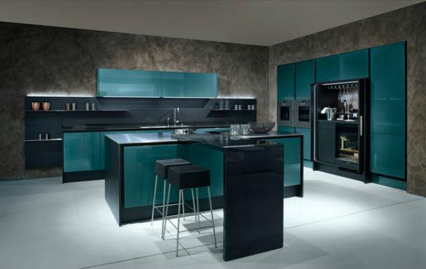 M s de 50 fotos de cocinas azules decoraci n muebles y - Cocinas con electrodomesticos blancos ...