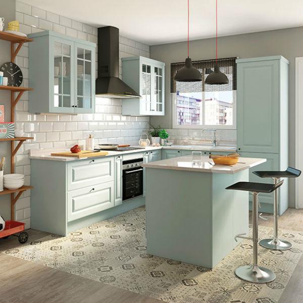 M s de 50 fotos de cocinas azules decoraci n muebles y for Electrodomesticos vintage baratos