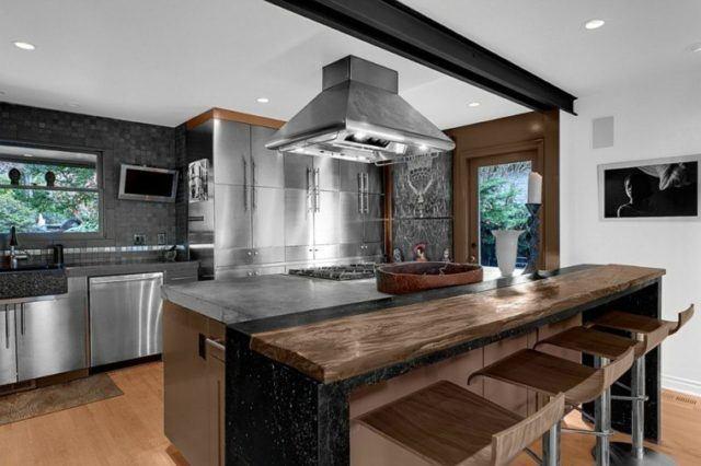 M s de 50 ideas de cocinas con barra modernas for Barras de cocina modernas