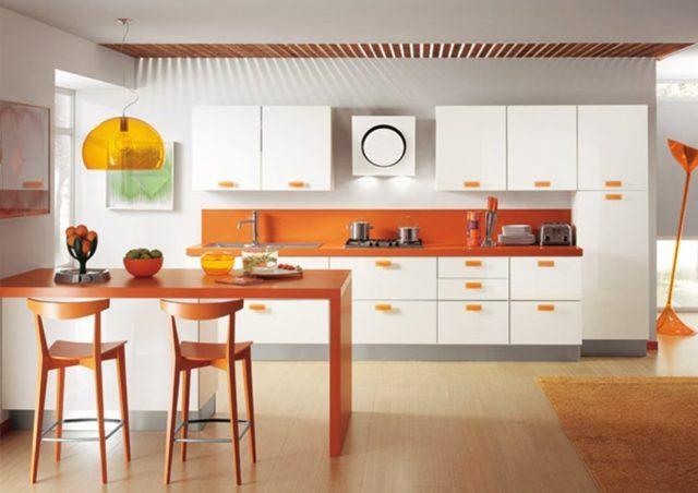 cocinas-con-barra-modernas-naranja