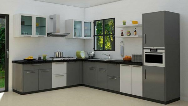 M s de 30 ideas de cocinas en l modernas for Cocinas blancas y grises