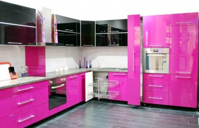 M s de 25 fotos con ideas de cocinas rosas - Cocinas rosa fucsia ...