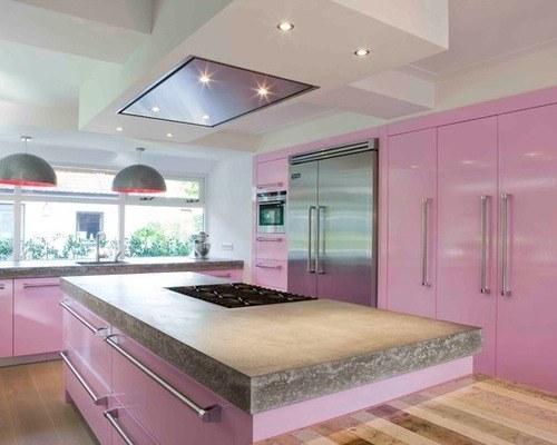 M s de 25 fotos con ideas de cocinas rosas for Cocinas de color rosa