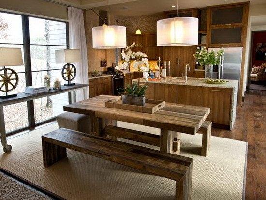 Comedores de madera con bancos pequeños   espaciohogar.com