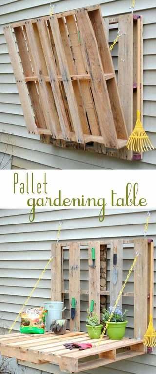 M s de 50 fotos de jardines decorados con palets for Jardin colgante con palets