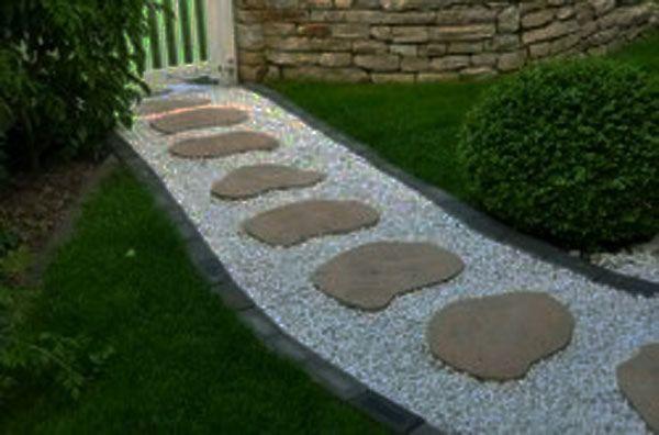 M s de 20 fotos de jardines con piedras que os van a encantar - Camino de piedras para jardin ...