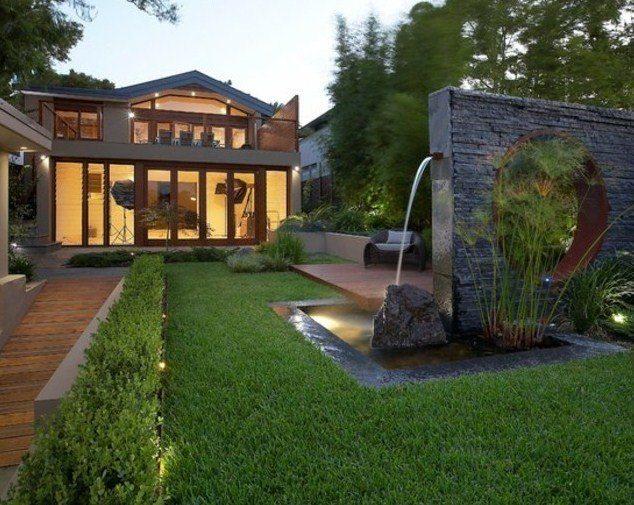 M s de 20 ideas de jardines minimalistas for Fuentes rusticas para jardin