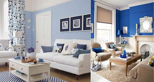 M s de 35 fotos de salones azules - Cortinas azul marino ...