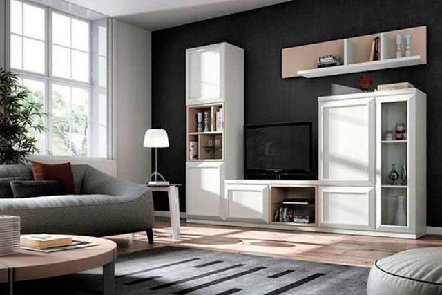 M s de 40 fotos de salones blancos - Salones con sofa negro ...