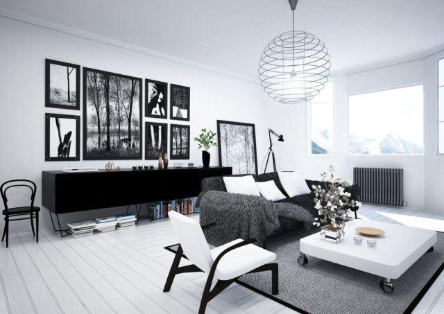 M s de 45 ideas con salones de estilo n rdico - Salones en blanco y negro ...