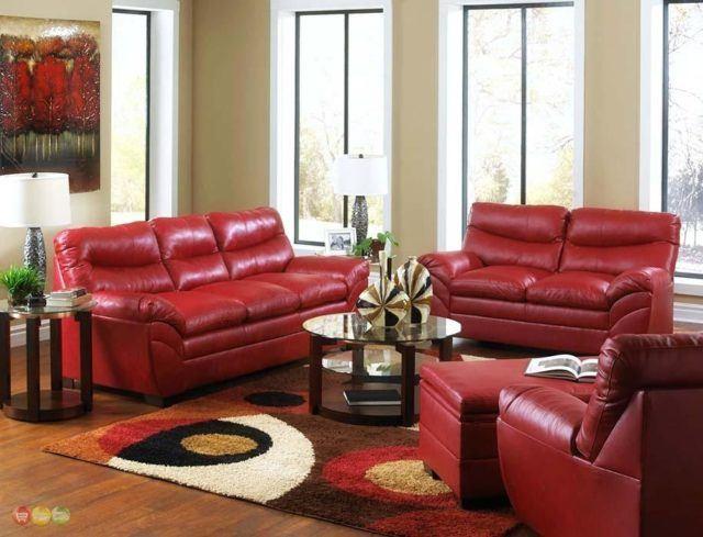 M s de 25 fotos de salones rojos - Salon con sofa rojo ...