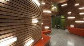 Original iluminación de paredes chapadas en madera