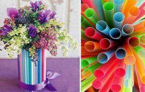 Florero con pajillas de colores