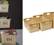 Crea una estantería muy original con cestos de mimbre