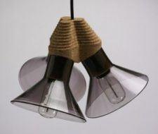 Lámparas de cristal y corcho