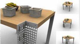 Práctica mesa con cajas de almacenaje incorporadas
