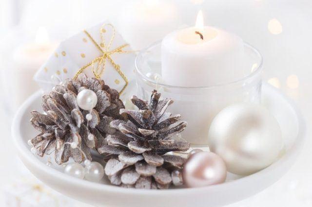 Centros de mesa navidenos blanco y plateado